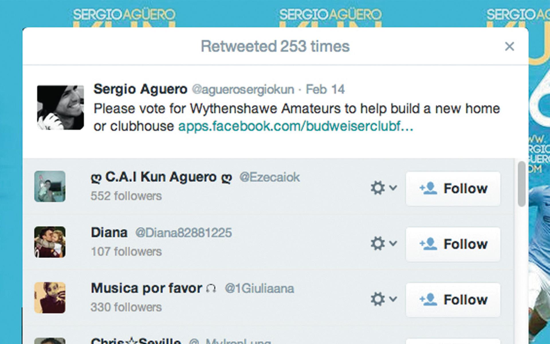 Wythenshawe Amateurs Sergio Aguero tweet