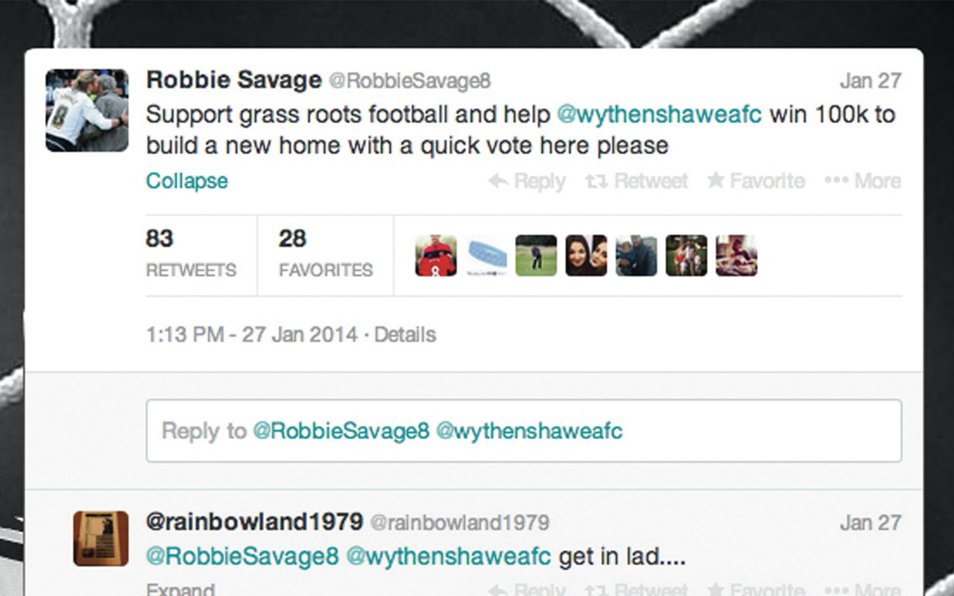 Wythenshawe Amateurs Robbie Savage tweet