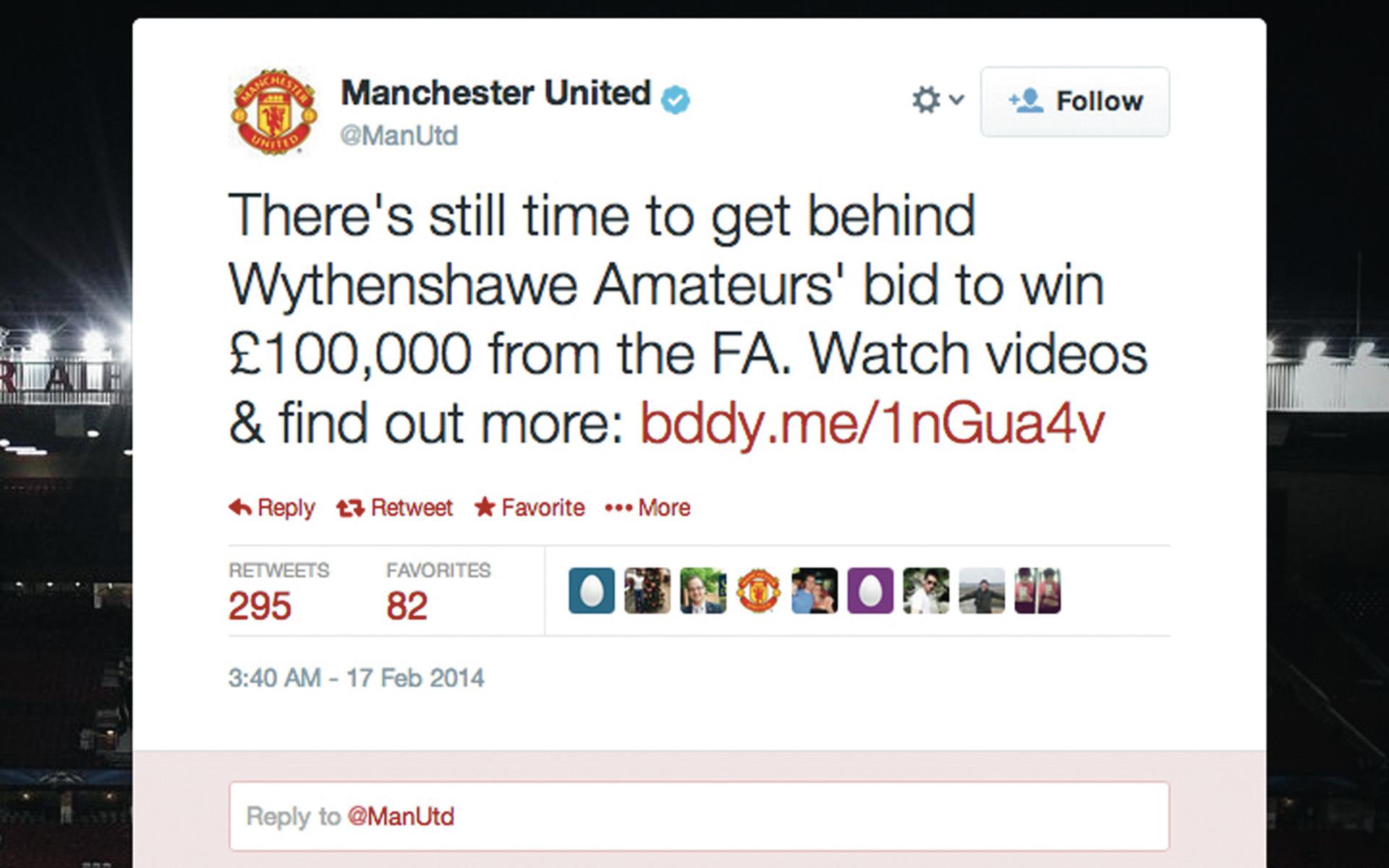 Wythenshawe Amateurs Manchester United tweet