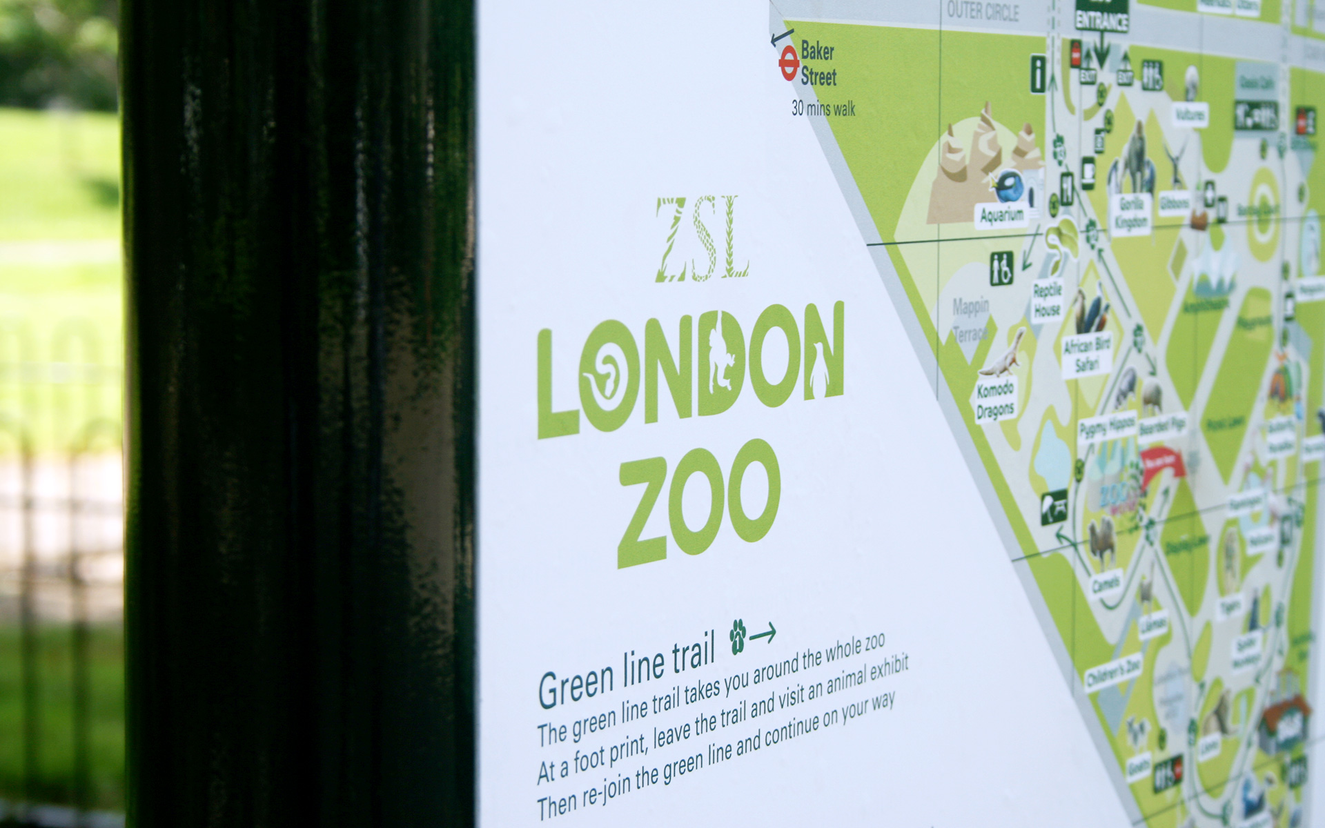 ZSL London Zoo logo on wayfinding